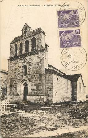 """CPA FRANCE 07 """"Payzac, L'Eglise"""""""