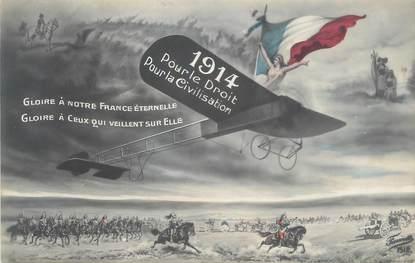 """CPA MILITAIRE PATRIOTIQUE """"1914 pour le droit pour la civilisation"""""""