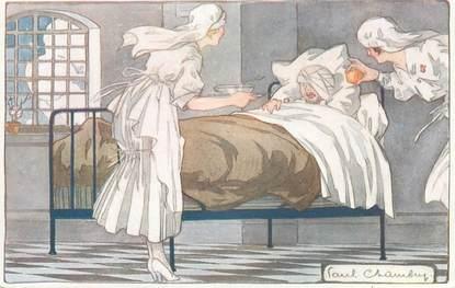 """CPA MILITAIRE """" La journée du Poilu, à l'Hôpital de Paris"""""""