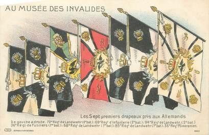 """CPA MILITAIRE """" Les Musée des Invalides, Les 7 premiers drapeaux pris aux Allemands"""