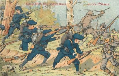 """CPA MILITAIRE """" Les Diables Bleus au Col de Ste Marie"""" / CHASSEURS ALPINS"""