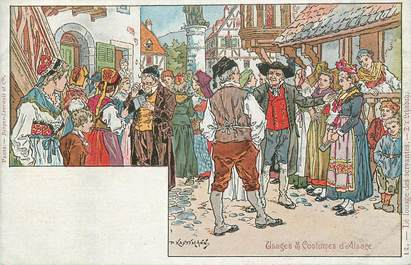 CPA ILLUSTRATEUR PAUL KAUFFMANN / COSTUMES D'ALSACE