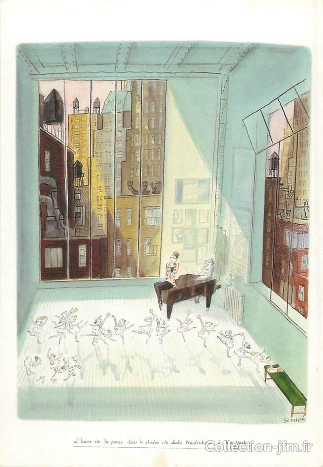 cpsm illustrateur sempe l 39 heure de la pause dans le studio de lulu nanteskaia new york. Black Bedroom Furniture Sets. Home Design Ideas