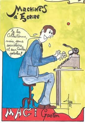 """CPSM ILLUSTRATEUR F. FARABOZ """" Gaston Magi ' / MACHINE A ECRIRE"""