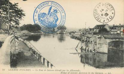 """CPA FRANCE 02 """"Soissons, le pont détruit par les allemands"""""""