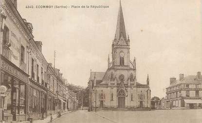 """/ CPA FRANCE 72 """"Ecommoy, place de la république"""""""