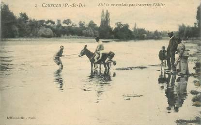 """CPA FRANCE 63 """"Cournon, la traversée en âne"""""""