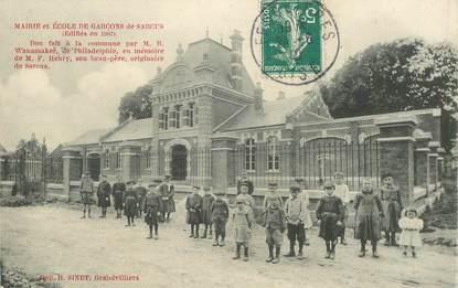 """CPA FRANCE 60 """"Sarcus, mairie et école"""""""