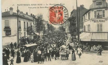 """CPA FRANCE 93 """"Montreuil sous Bois, le marché aux puces"""""""