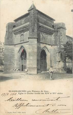 """CPA FRANCE 32 """"Beaumarchès près Plaisance du Gers, Eglise"""""""