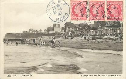 """/ CPA FRANCE 14 """"Luc sur Mer, les plages vers les falaise à marée haute"""""""