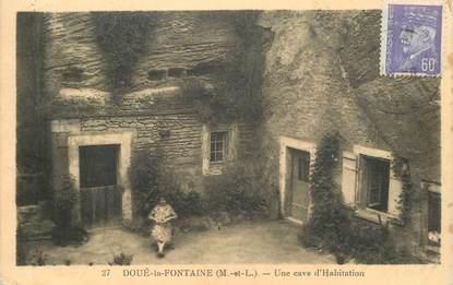 """CPA FRANCE 49 """"Doué la Fontaine, une cave d'habitation"""" OBLITERATION TAXE AU VERSO"""