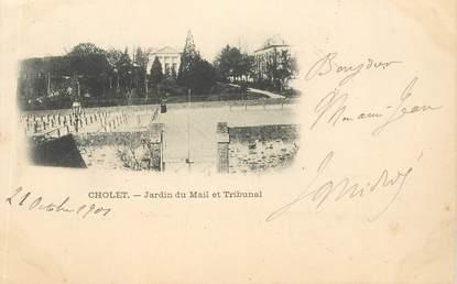 """CPA FRANCE 49 """"Cholet, jardin du Mail et tribunal"""""""