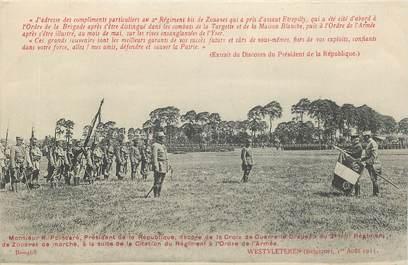 """CPA BELGIQUE """"Régime des Zouaves avec Poincaré à Westvleteren, 1915"""""""