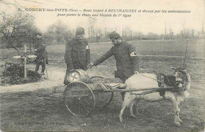 """CPA FRANCE 60 """"Conchy les Pots, bouc trouvé à Beuvraignes"""" / ATTELAGE"""