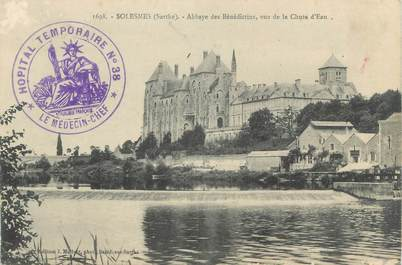 "CPA FRANCE 72 ""Solesmes, Abbaye"" / CACHET HÔPITAL TEMPORAIRE AU RECTO N°38"