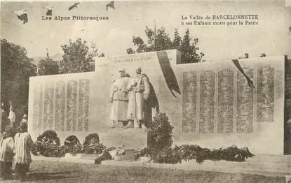 """/ CPA FRANCE 04 """"La vallée de Barcelonette"""" / MONUMENT AUX MORTS"""