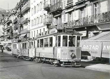 "CPSM SUISSE ""Montreux"" TRAIN / TRAMWAY"