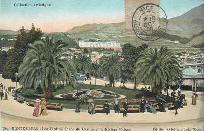 "CPA FRANCE MONTE CARLO ""Monte Carlo, Jardins, Place du Casino, Riviera Palace"""