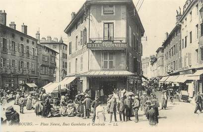 """CPA FRANCE 01 """"Bourg, Rues Gambetta et Centrale"""""""
