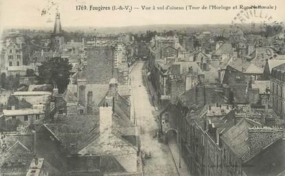 """CPA FRANCE 35 """"Fougères, Tour de l'Horloge, Rue Nationale"""""""