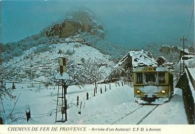"""/ CPSM FRANCE 04 """"Arrivée d'un Autorail à Annot"""" / TRAIN"""