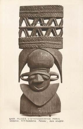 """CPA NOUVELLE CALEDONIE """"Musée d'Ethnographie de Paris, Poteau en bois sculpté"""""""