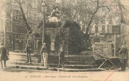 """CPA FRANCE 83 """"Toulon, Place Puget, Fontaine des Trois Dauphins"""""""