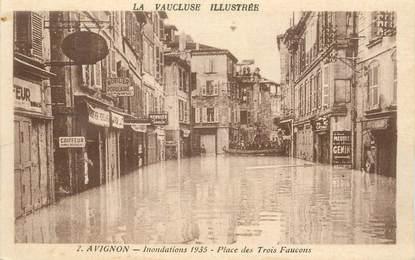 """CPA FRANCE 84 """"Avignon, Inondations 1935, Place des Trois Faucons"""""""