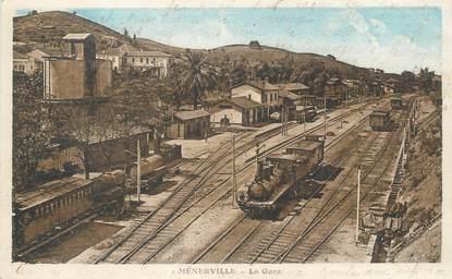 """CPA ALGERIE """"Ménerville, la gare"""" / TRAIN"""