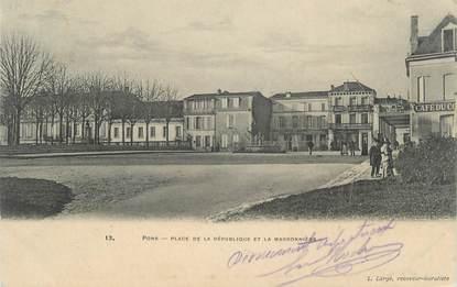 """CPA FRANCE 17 """"Pons, place de la République et la Marronnière"""""""