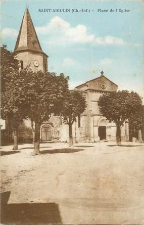 """CPA FRANCE 17 """"Saint Aigulin, Place de l'Eglise"""""""