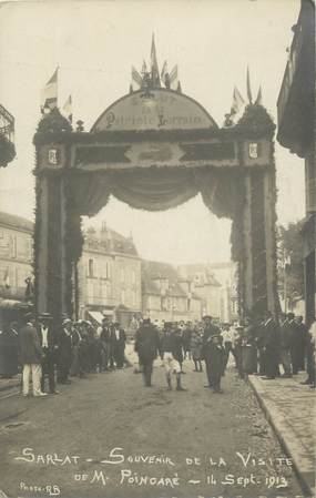 "CARTE PHOTO FRANCE 24 "" Sarlat, Salut au Patriote Lorrain, 14 sept 1913 """