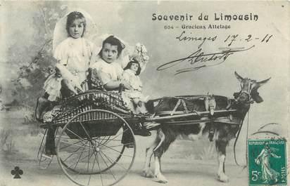 """CPA FRANCE 87 """"souvenir du Limousin, attelage de chèvre"""""""
