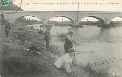 """CPA FRANCE 37 """"Tours, ouverture de la pêche"""""""