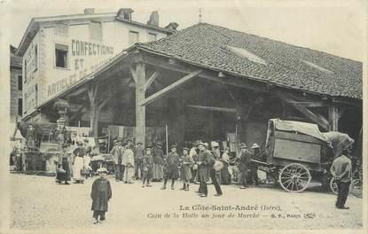 """CPA FRANCE 38 """"La Côte Saint André, la hall un jour de marché"""""""
