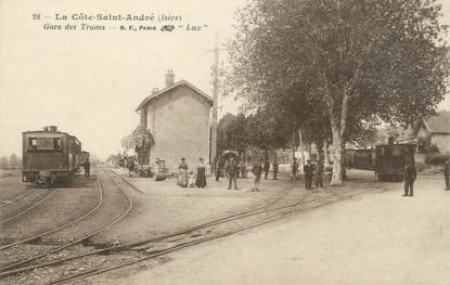 """CPA FRANCE 38 """"La Côte Saint André, gare des Tramways"""""""