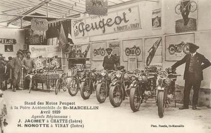 """CPA FRANCE 38 """"Saint Marcellin, Stand des Motos Peugeot, 1929"""""""