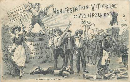 "CPA FRANCE 34 ""Manifestation viticole de Montpellier, 1907"""