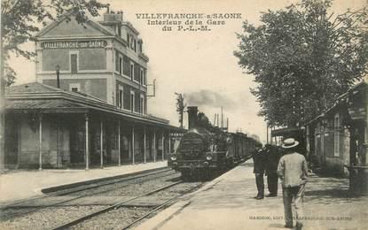 """CPA FRANCE 69 """"Villefranche sur Saone, intérieur de la gare"""" / TRAIN"""