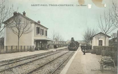 """CPA FRANCE 26 """"Saint Paul Trois Chateaux, la gare"""" / TRAIN"""