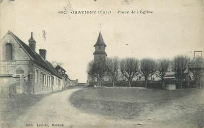"""CPA FRANCE 27 """" Gravigny, place de l'église """""""