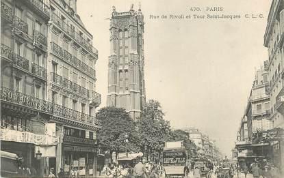 """CPA FRANCE 75004 """"Paris, rue de Rivoli et Tour Saint Jacques"""""""