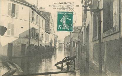 "CPA FRANCE 92 "" Courbevoie, rue Saint Germain "" / INONDATIONS 1910"