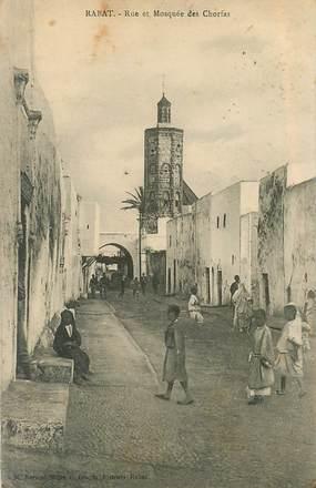 """CPA MAROC """"Rabat, rue et Mosquée des Chorfas"""""""