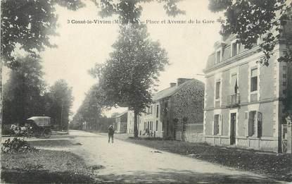 """/ CPA FRANCE 53 """"Cossé le Vivien, place et avenue de la gare"""""""