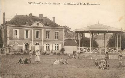 """/ CPA FRANCE 53 """"Cossé le Vivien, le kiosque et école communale"""" / ENFANTS"""
