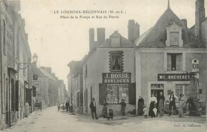 """/ CPA FRANCE 49 """"Le Louroux Beconnais, place de la pompe et rue du Perrin"""" / HORLOGER"""