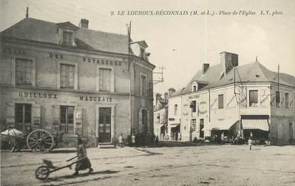 """/ CPA FRANCE 49 """"Le Louroux Beconnais, place de l'église"""""""