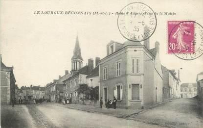 """/ CPA FRANCE 49 """"Le Louroux Beconnais, route d'Angers et rue de la mairie"""""""